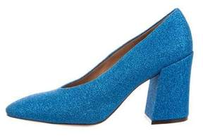 Dries Van Noten Glitter Round-Toe Pumps w/ Tags