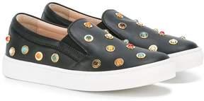 Aquazzura Mini embellished slip-on shoes