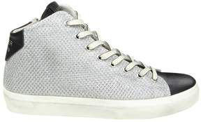 Leather Crown Sneakers In Leather And Laminate Fabric Color Silver