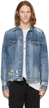 Amiri Indigo Denim Bandana Trucker Jacket