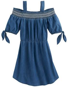 My Michelle Girls 7-16 Smocked Chambray Off Shoulder Dress