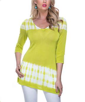 Belldini Chartreuse Tie-Dye Asymmetrical-Hem Top - Women