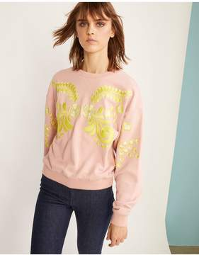Cynthia Rowley | Bleecker Embroidered Sweatshirt | L | Neutral
