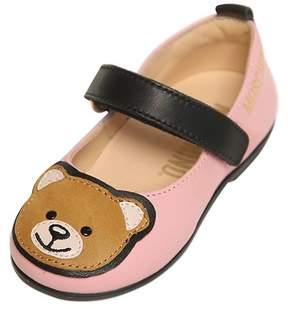 Moschino Teddy Bear Leather Ballerina Flats