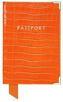 Aspinal of London Passport Cover In Deep Shine Amber Small Croc