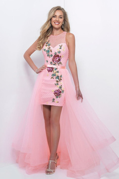 Blush Lingerie Embellished Illusion Jewel Neck With Removable Skirt 11205