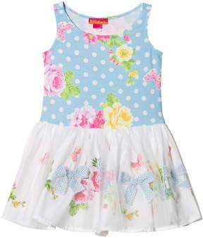 Kate Mack Biscotti Blue Spotty Flower Print Tulle Skirt Dress