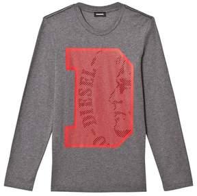Diesel Grey D Logo Slim Knit T Shirt