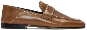 Isabel Marant Brown Studded Fezzy Loafers