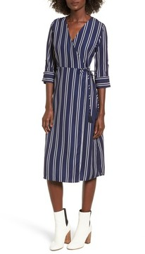 Everly Women's Stripe Wrap Midi Dress