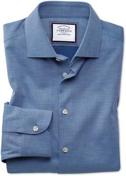 Charles Tyrwhitt Classic Fit Semi-Spread Collar Business Casual Non-Iron Royal Blue Honeycomb Cotton Dress Shirt Single Cuff Size 16/33