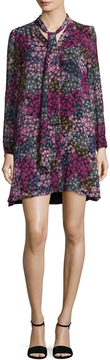 CeCe Women's Aleah Neck-Tie Printed Shift Dress