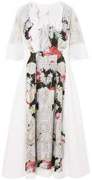 Comme des Garcons Ruffled Printed Voile Midi Dress - White