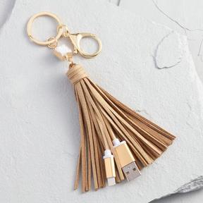 World Market Gold iPhone Charger Tassel Keychain