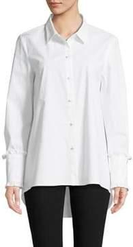 Isaac Mizrahi IMNYC Ruffle-Cuffs A-Line Poplin Shirt