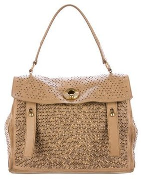 Saint Laurent Studded Muse 2 Leather Bag - BROWN - STYLE