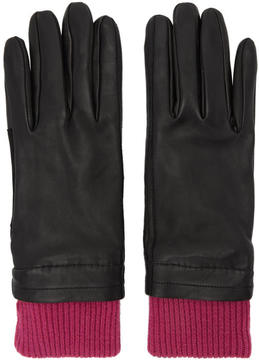 Ami Alexandre Mattiussi Black and Purple Rib Cuff Gloves