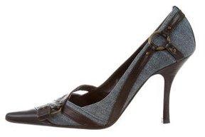 Karen Millen Leather-Trimmed Pointed-Toe Pumps