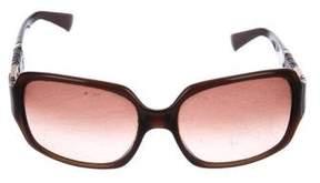 Fendi Leather-Trimmed Square Sunglasses