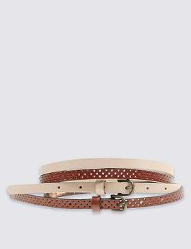 Marks and Spencer 2 Pack Leather Skinny Hip Belts