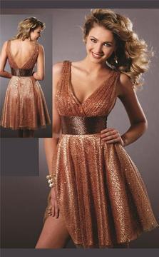 Blush Lingerie Sparkling V-Neck Cocktail Dress 9131