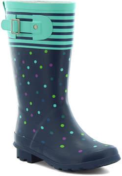 Western Chief Navy & Teal Dot Rain Boot - Girls