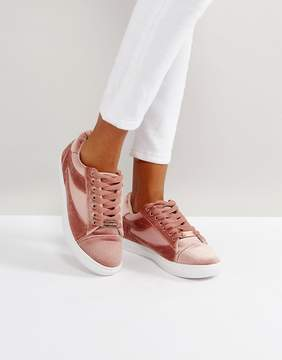 Head Over Heels by Dune Blush Velvet Sneakers