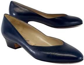 Amalfi by Rangoni Navy Leather Pointed Toe Block Heels