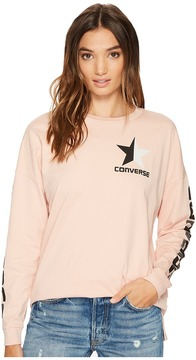 Converse Split Star Wordmark Long Sleeve Crew Tee Women's T Shirt