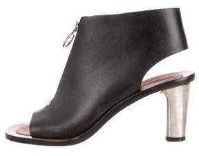 Celine Leather Zip-Up Sandals