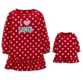 Carter's Infant Toddler Girl Red I Love Santa Nightgown Set with Doll Nightie 12m
