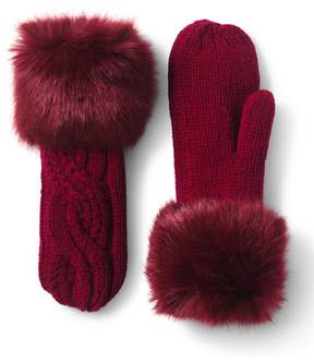 Lands' End Lands'end Women's Braided Cable and Fur Mittens