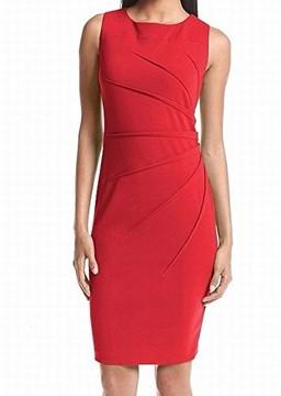Calvin Klein Womens Shutter Pleat Sheath Wear to Work Dress
