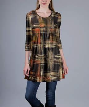 Azalea Brown & Beige Abstract Plaid Empire-Waist Tunic - Plus