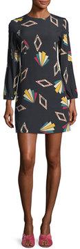 BA&SH Crewneck Long-Sleeve Printed Mini Dress