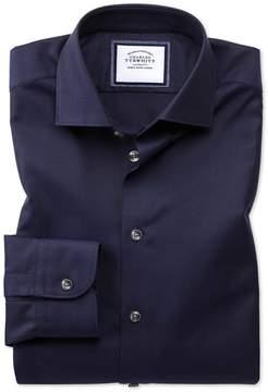 Charles Tyrwhitt Extra Slim Fit Semi-Spread Collar Business Casual Navy Textured Egyptian Cotton Dress Shirt Single Cuff Size 15.5/33