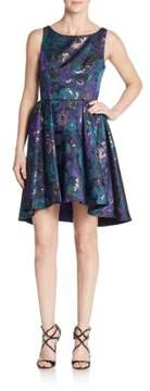 ABS by Allen Schwartz Floral Jacquard Cutout Fit-And-Flare Dress