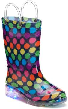 Western Chief Darling Dot Toddler Girls' Light-Up Waterproof Rain Boots
