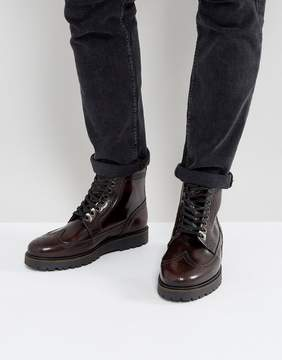 Fred Perry X George Cox Creeper Mid Leather Boots in Red