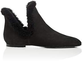 The Row Women's Shearling-Trimmed Nubuck Ankle Boots