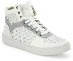 Diesel Spaark Woven Leather Mid-Top Sneakers