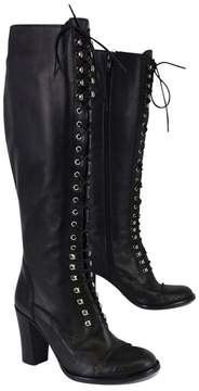 Charles David Black Leather Regiment Lace Up Boots