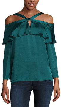 Libby Edelman Long Sleeve V Neck Satin Blouse