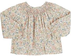 Bonpoint Smocked-Neck Floral Cotton Swing Blouse