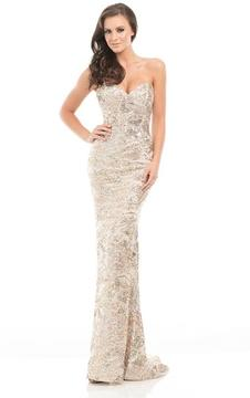 Johnathan Kayne 7067 Sparkling Strapless Textured Long Gown