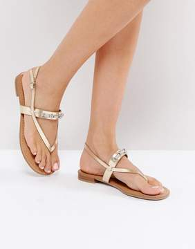 Call it SPRING Taketa Gold Embellished Flat Sandals