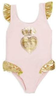 Juicy Couture Baby Girl's & Little Girl's One-Piece Crown Heart Swimsuit