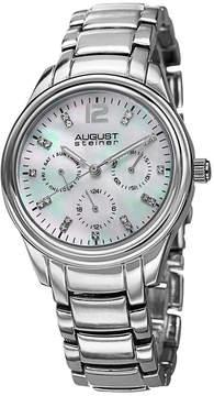 August Steiner Womens Silver Tone Strap Watch-As-8076ss