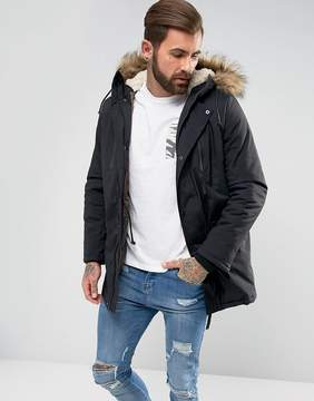 New Look Parka With Fur Lined Hood In Black