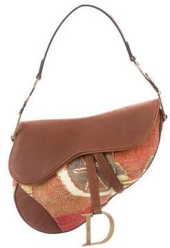 Christian Dior Leather-Trimmed Saddle Bag